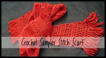 chelle-chelle.com crochet sampler stitch scarf free pattern