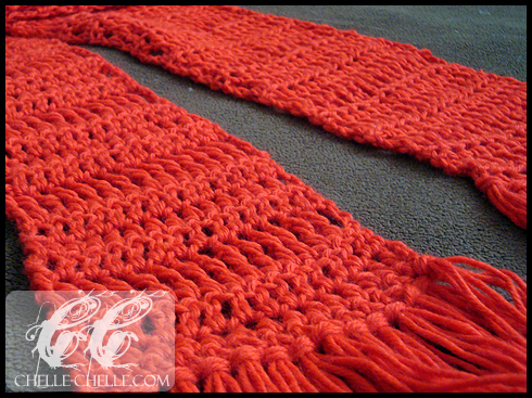 chelle-chelle.com crochet sampler stitch scarf
